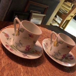 2 Festival China Floral Demitasse Cups & Saucers